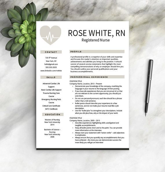 Nurse Resume Template Free Cover Letter by ProfessionalResumeCo - nursing resume templates free