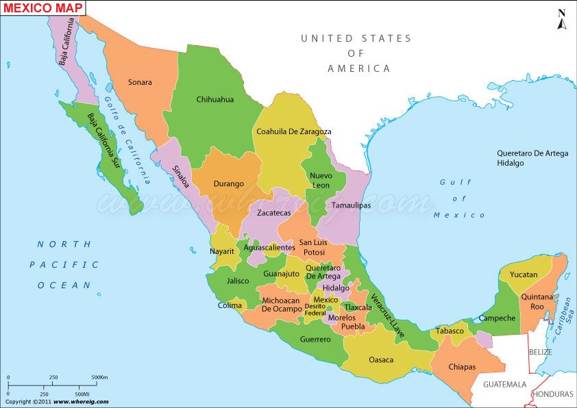 Mexico Map Political Of States Cities