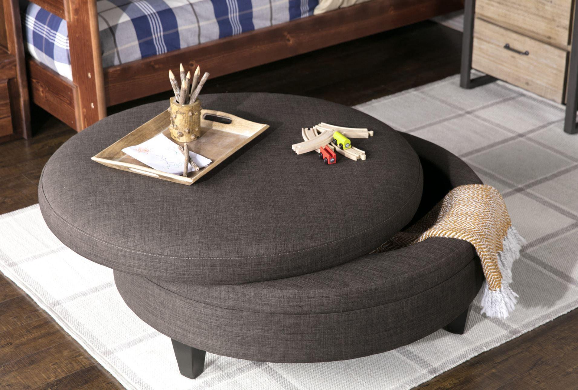 Rec Room Sofa Area Adler Fabric Large Round Storage Ottoman 360