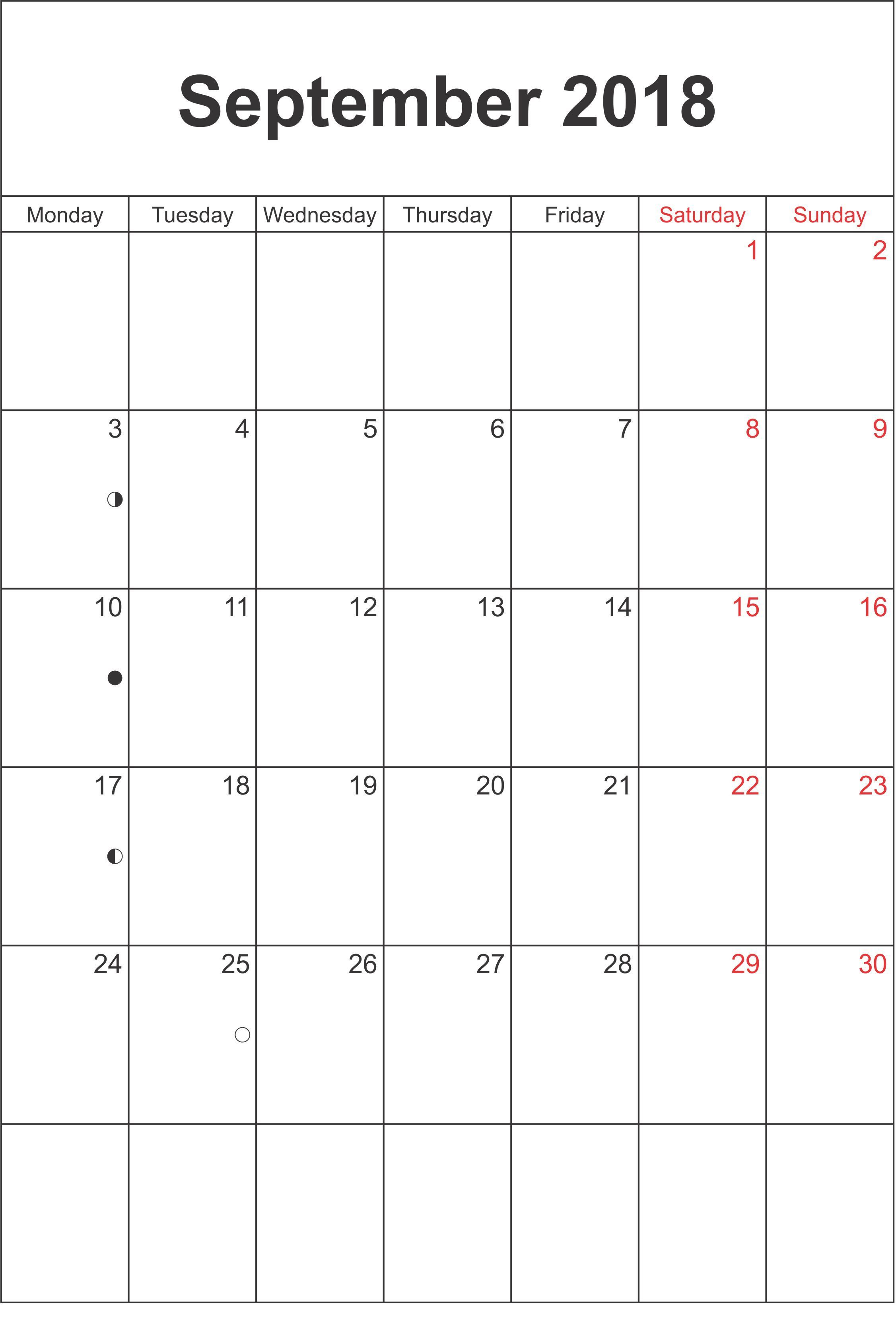 September Calendar South Africa With Moon Phases