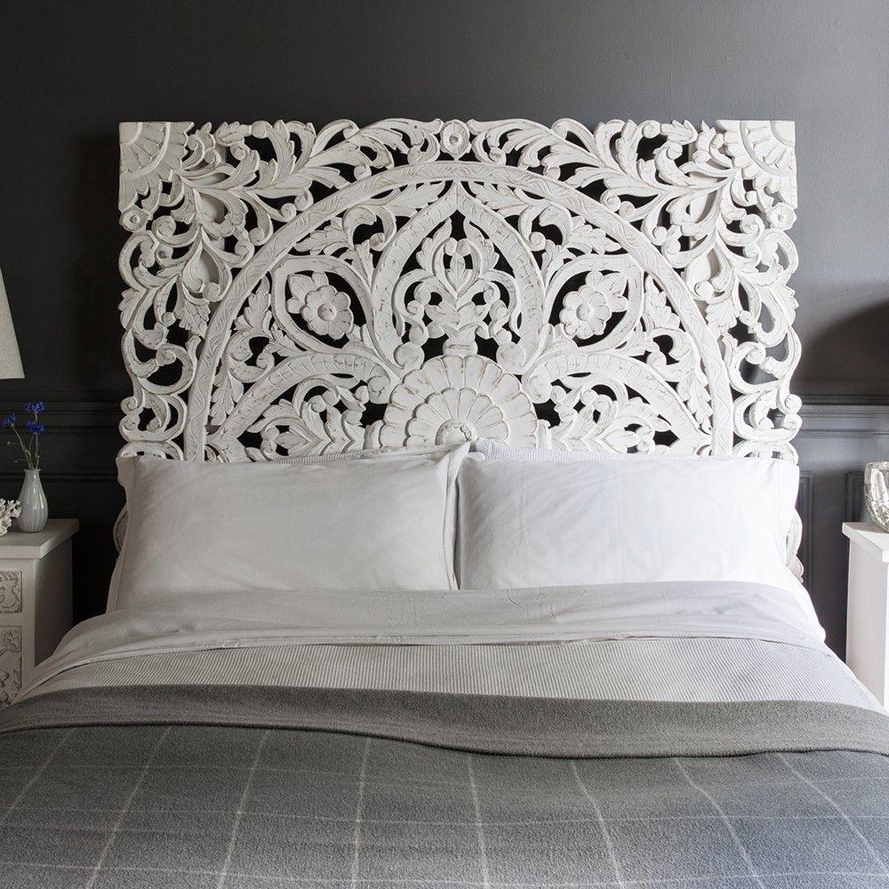 Atika White Carved Headboard King Size Carved Headboard Wooden Headboard Headboards For Beds