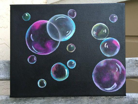 bubbles acrylic painting art original minimalist nursery baby room