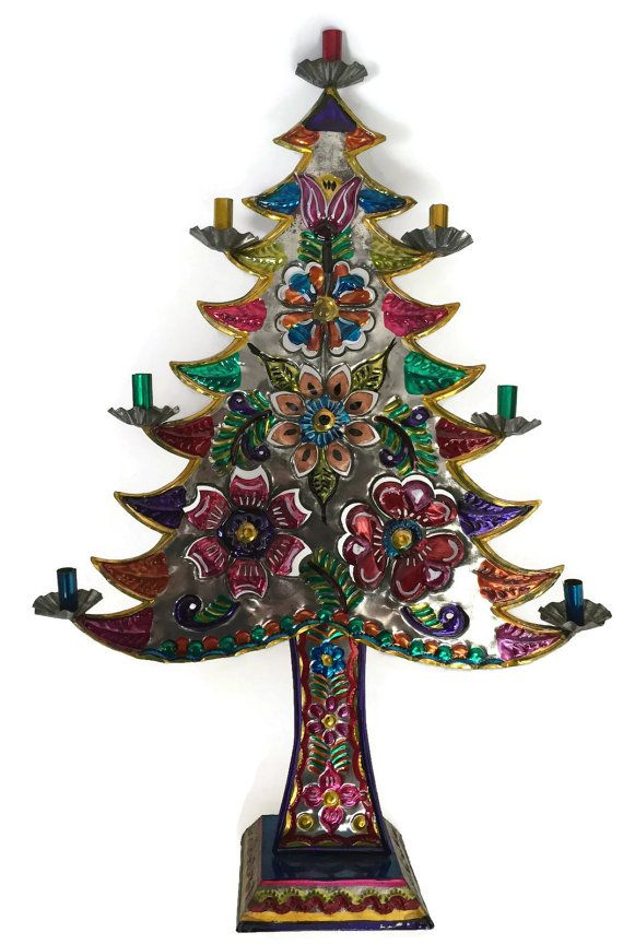 Colorful Mexican Tin Art Christmas Tree Candelabra This wonderful hand made  punched tin Christmas tree has been hand painted with brightly colored  flowers. - Mexican Tin Art Christmas Tree, Tin Art Christmas Tree, Mexican