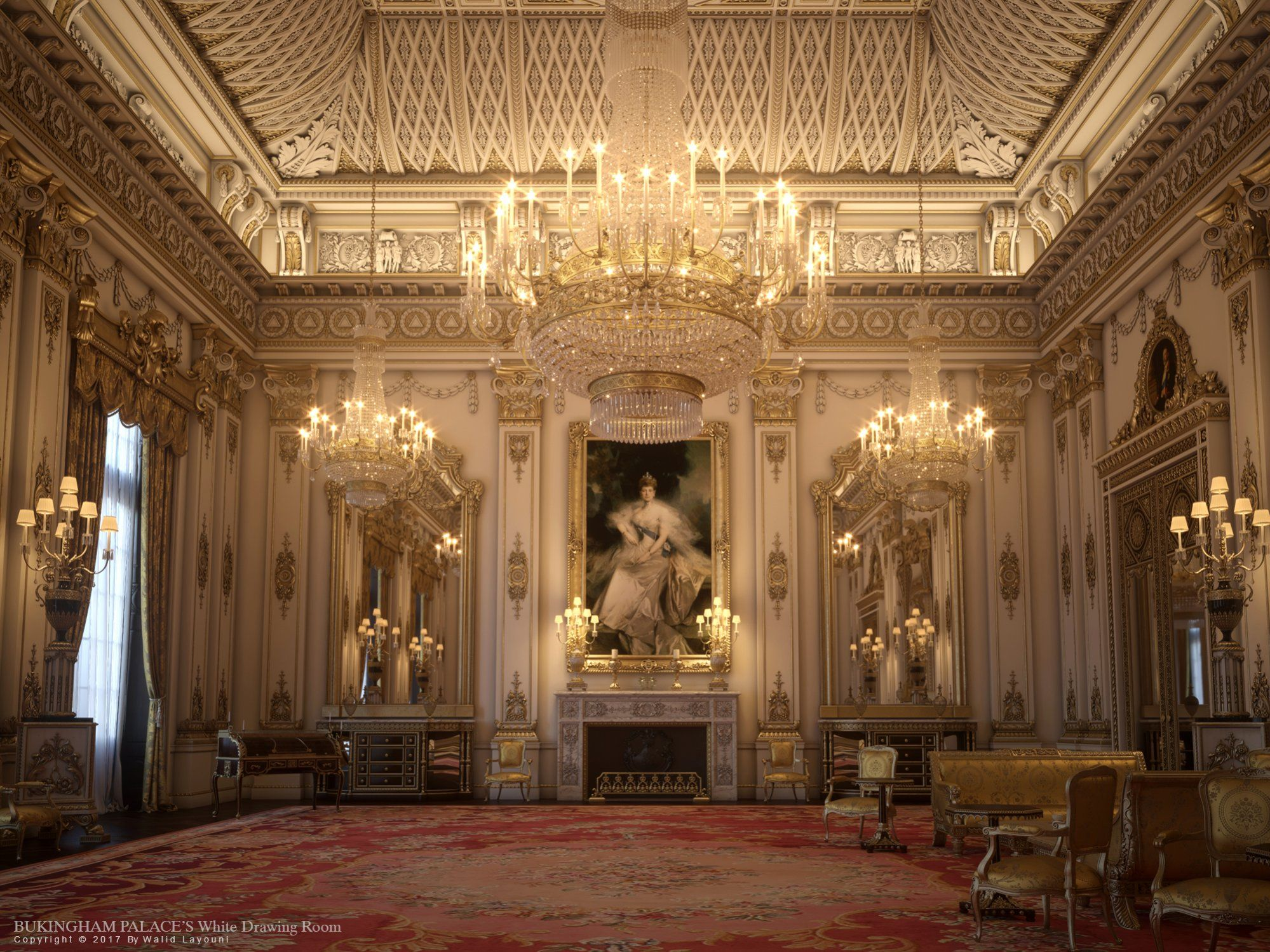 The white drawing room buckingham palace castles for Innendesign englisch