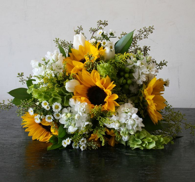 Bridal Bouquet Of Sunflowers Bells Of Ireland Stock Seeded Euculyptus And September Yellow Wedding Flowers Bright Wedding Flowers Sunflower Wedding Bouquet