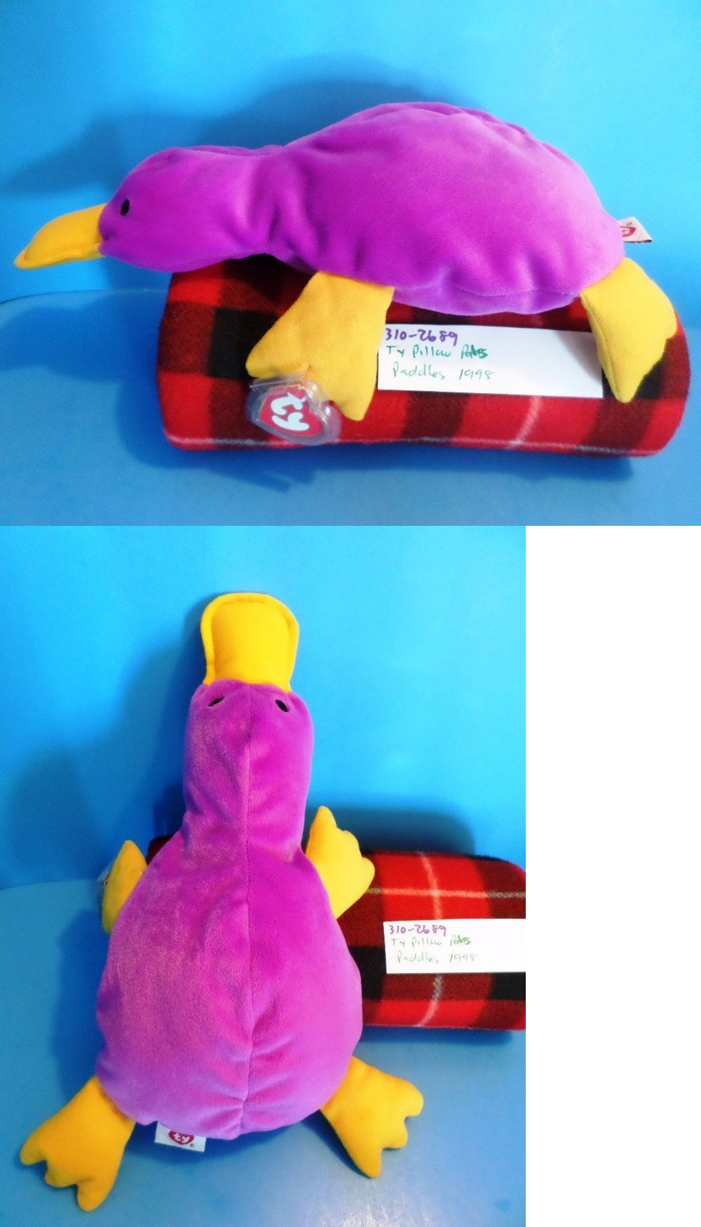 1cd478bd5b4 Pillow Pals 1633  Ty Pillow Pals Paddles The Purple Platypus 1998  Plush(310-2689) -  BUY IT NOW ONLY   18 on  eBay  pillow  paddles  purple   platypus