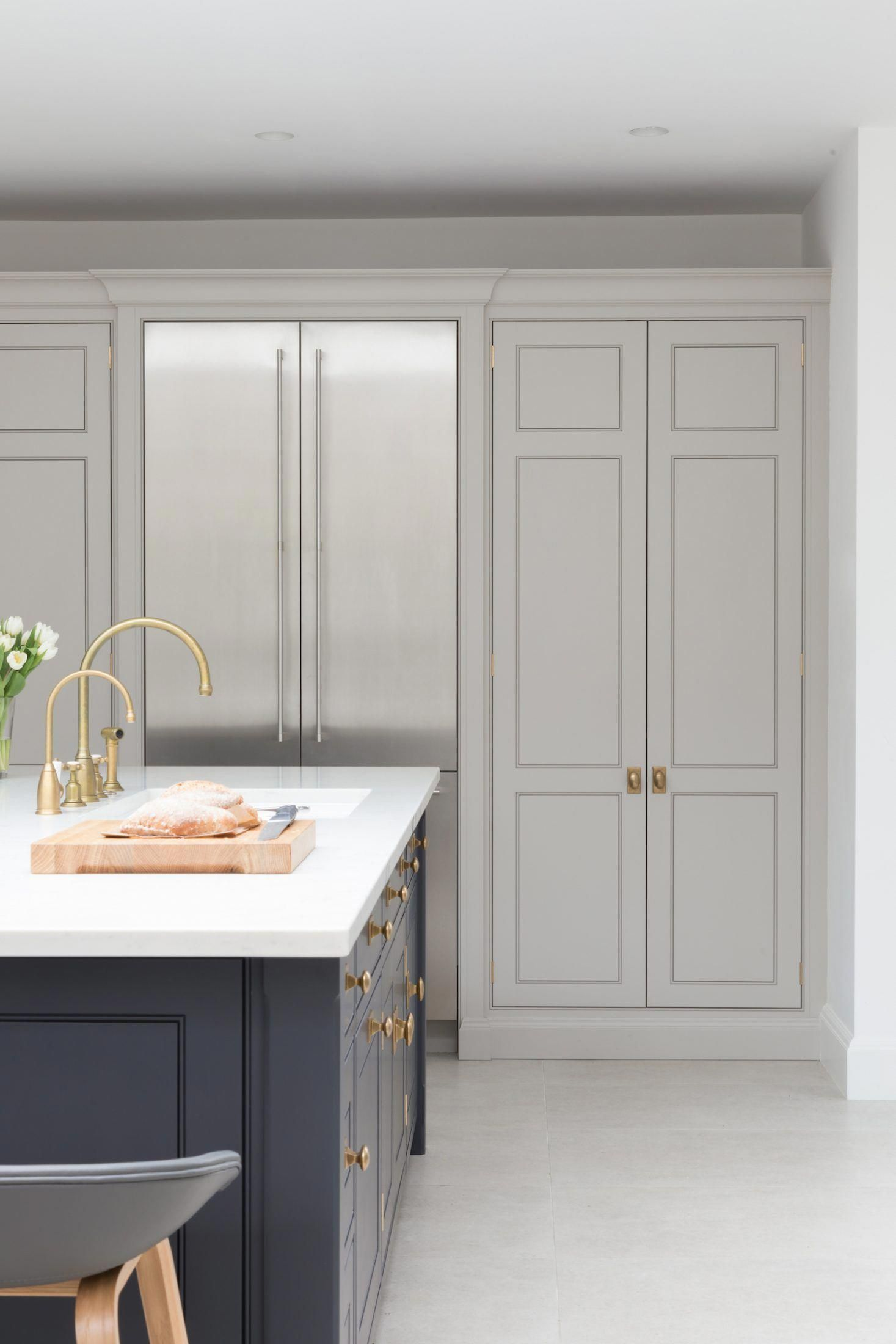 Light Gray Floor To Ceiling Cabinets With Built In Flush Fridge Navy Painted Kitchen Floor To Ceiling Cabinets Kitchen Renovation Light Grey Kitchen Cabinets