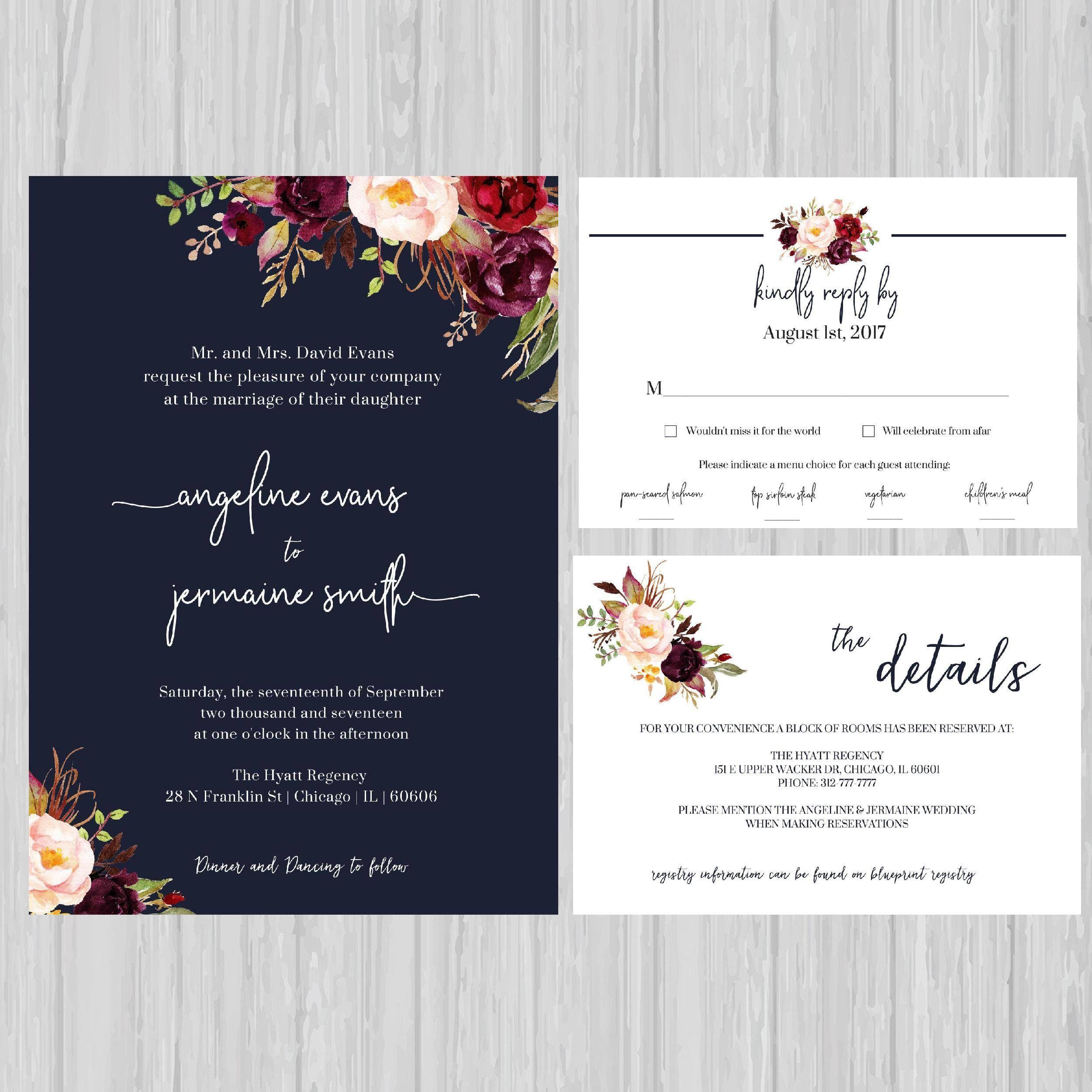 Navy Floral Wedding Invitations, Navy Wedding Invite, Marsala ...