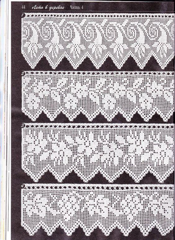 Duplet 138 p44. Four beautiful filet lace edgings with floral motifs ...