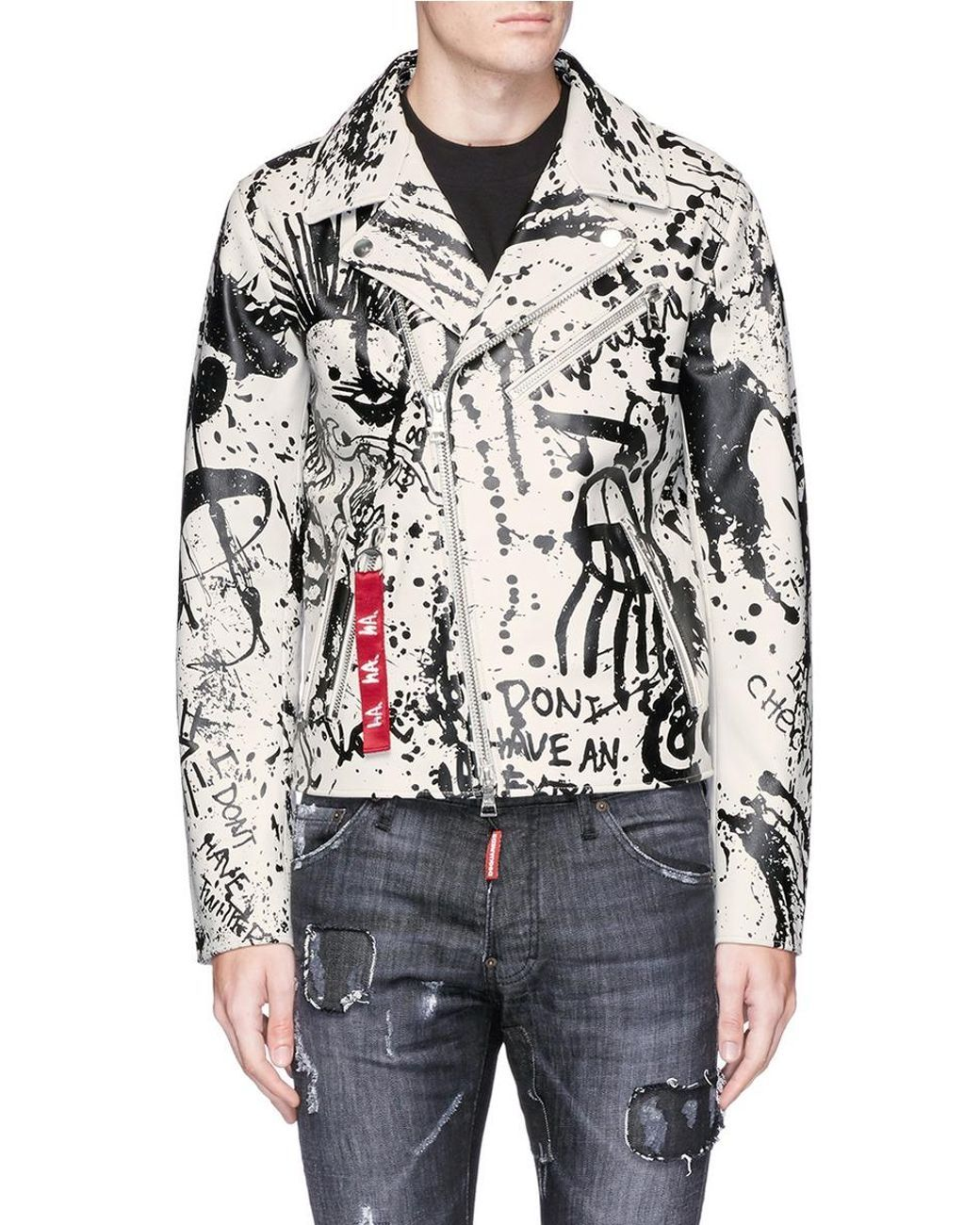 c1bcfd50000 Haculla | Multicolor Paint Splatter Leather Biker Jacket for Men | Lyst