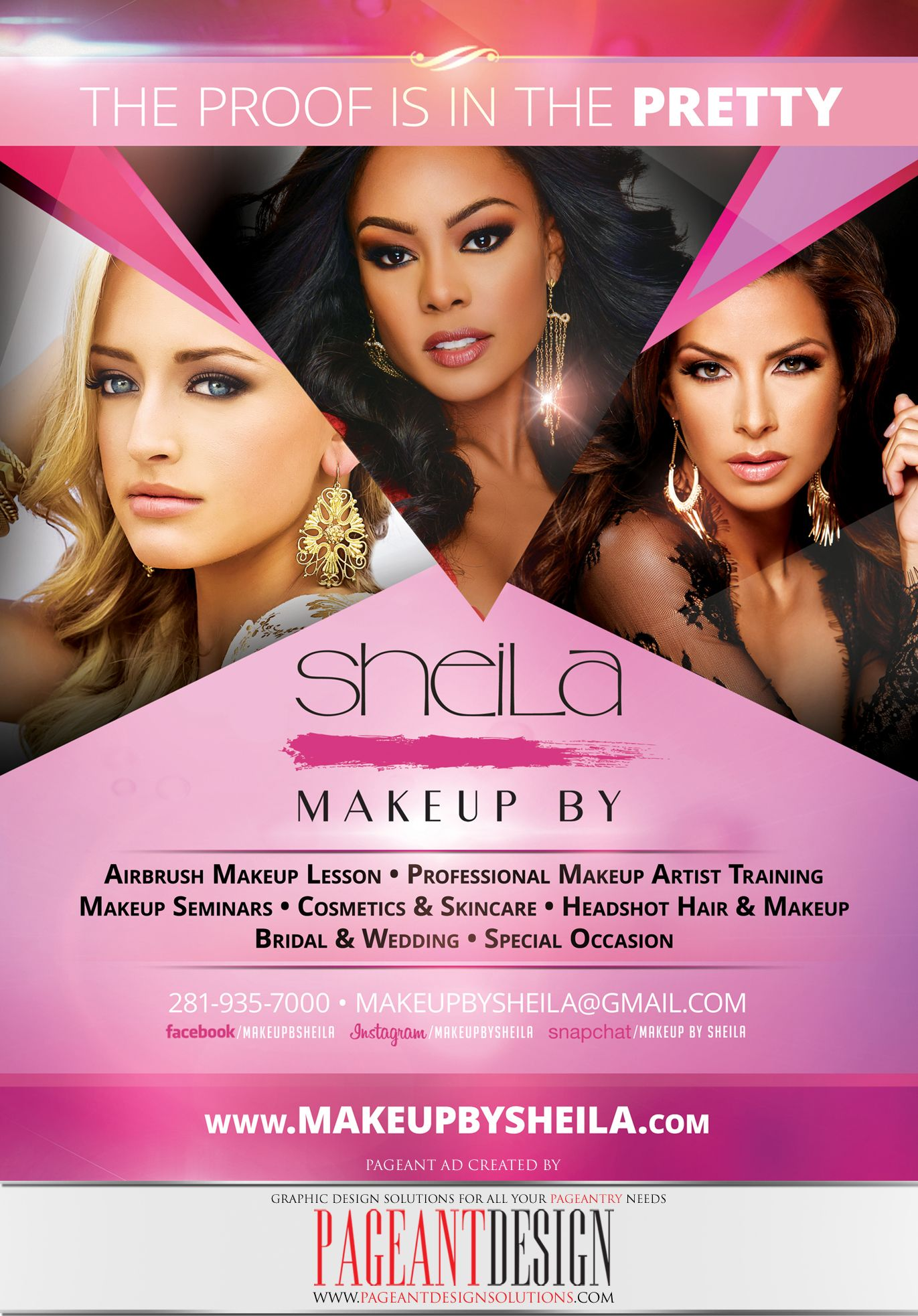AWESOMEpageantAD and promo flyer designed for MAKEUP BY