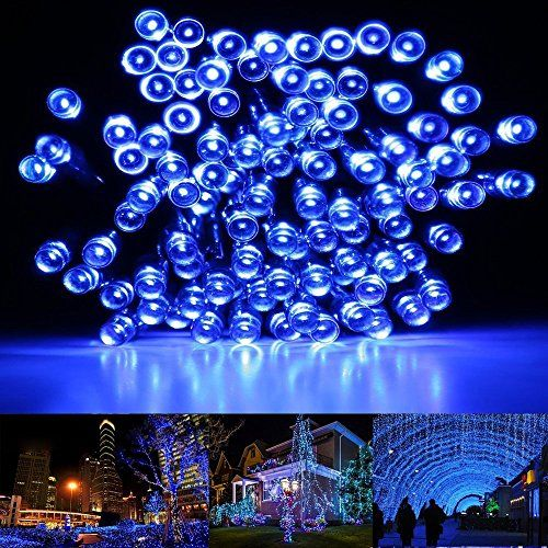 HDS-TEK HDS-LED-L Decorative Solar Powered Christmas Lights 200 LED String Light for Garden, Lawn, Patio, Xmas Tree, Wedding, Party, Outside, Holiday, Indoor, Outdoor Decorations, Blue *** Instant discounts available  : Christmas Home Decor