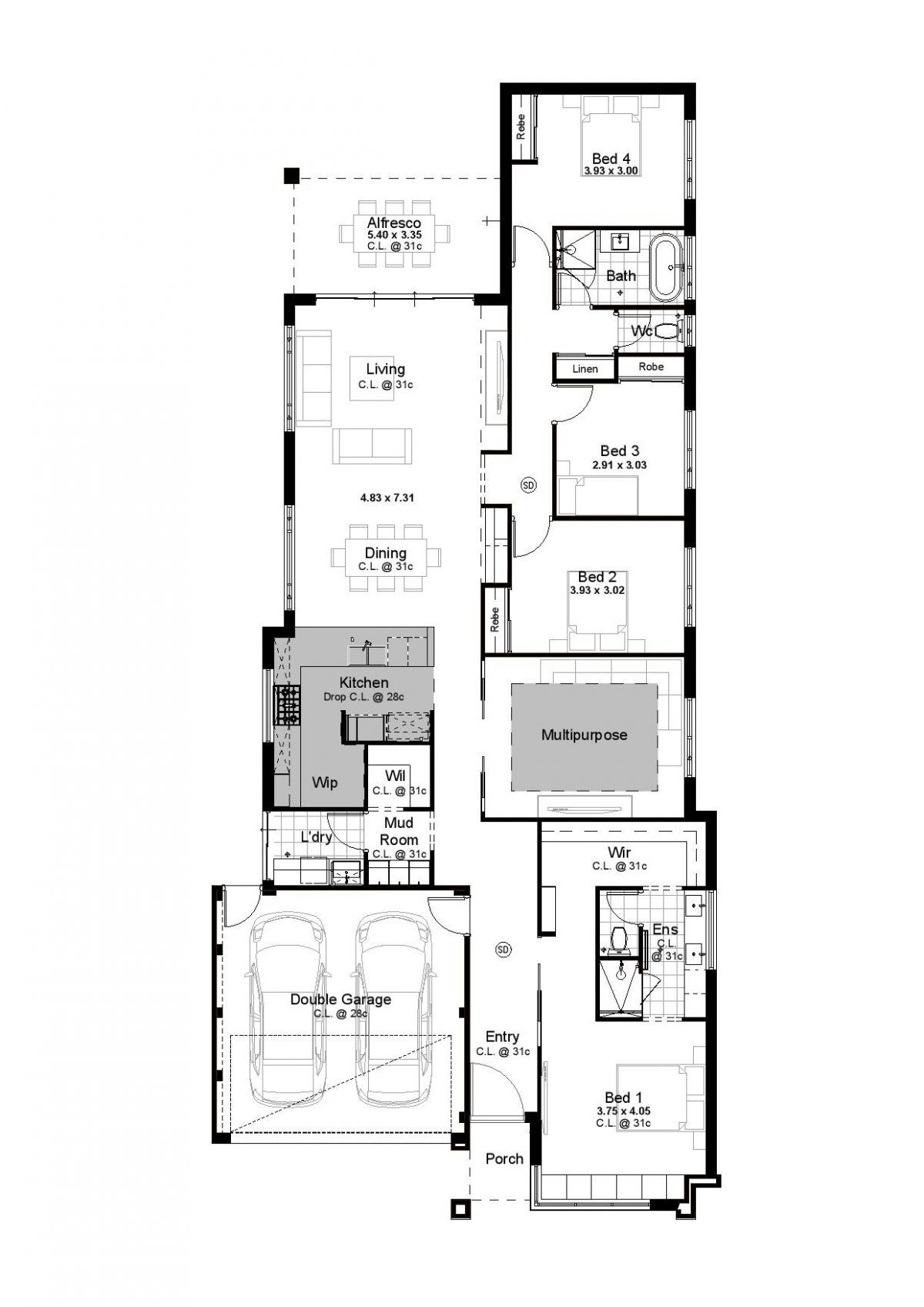 Grayson Inspired Homes 4 Bedroom House Plans Home Design Floor Plans Bedroom House Plans