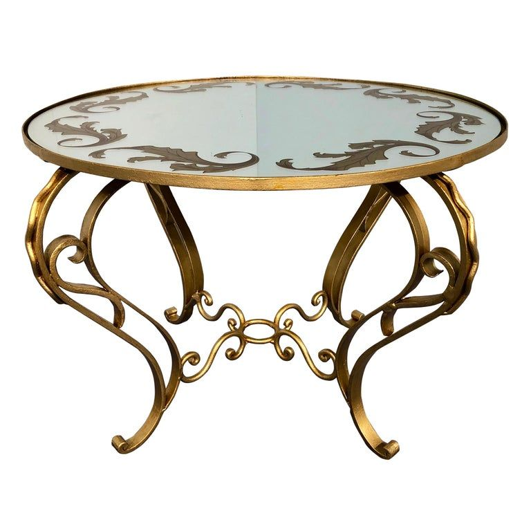 French Art Deco Round Coffee Table In Gilded Iron 1950 Victorian Coffee Tables Art Deco Coffee Table Coffee Table