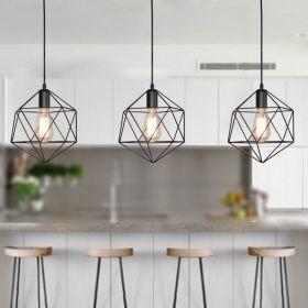 1-Light Geometric Cage Pendant Light Industrial Black Metal Hanging Lamp for Kitchen Island Pendant Lights