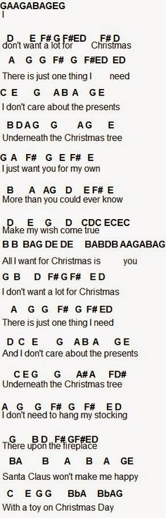 All I Want For Christmas Is You Piano Sheet Music With Letters.Flute Sheet Music All I Want For Christmas Is You Music