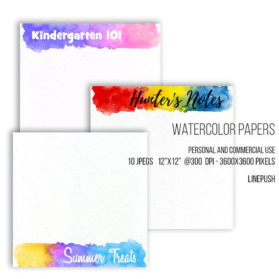 SALE! Watercolor papers. Watercolor headers, footers, borders, letterheads Digital papers Rainbow colors, pastel. Scrapbooking Stationery Watercolor papers. Watercolor headers footers by LinePush