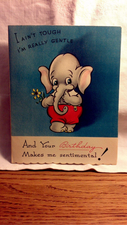Vintage Elephant Birthday Sentimental Greeting Card Etsy Elephant Birthday Vintage Cards Vintage Elephant