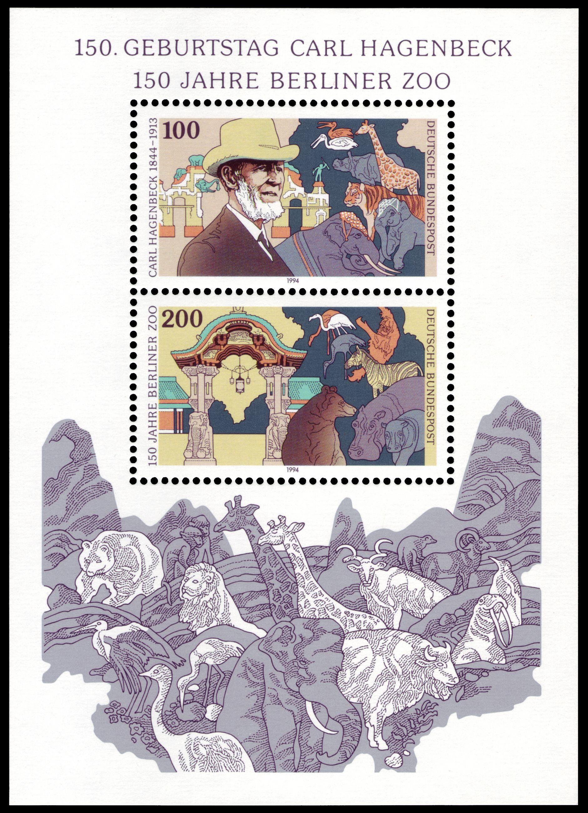 Deutschland 1994 Block 150. Geburtstag von Carl