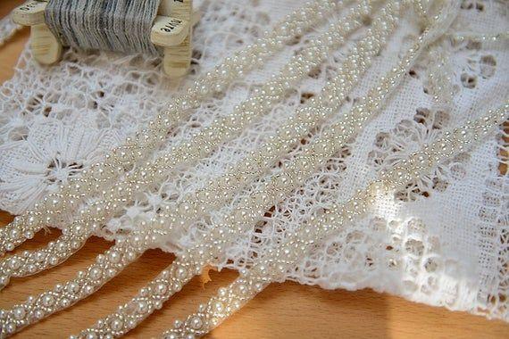 pearl beaded trim, bridal sash, beaded jewelry Trim, clear beads trim #dollunderware