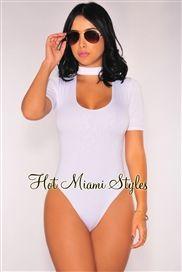 97fd9a06ebb White Choker Short Sleeves Bodysuit