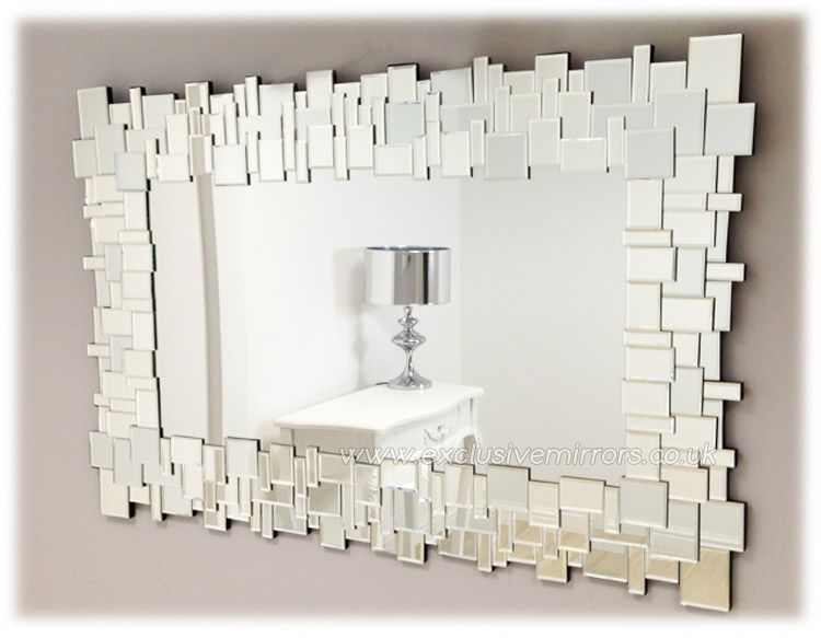 Clear glass 39 jigsaw 39 wall mirror 120 x 80cm ee920a 169 for Glass mirrors for walls