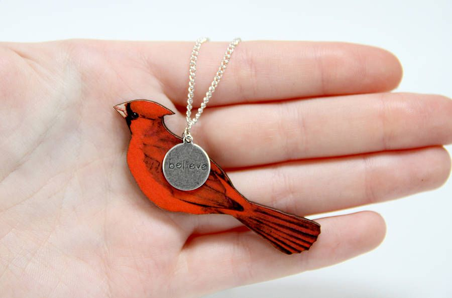 seed necklace products cardinal pendant bird designs beaded maddiethekat