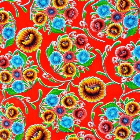 Red Dulce Flor Oilcloth Mexican Colorful Coated Cotton Casa
