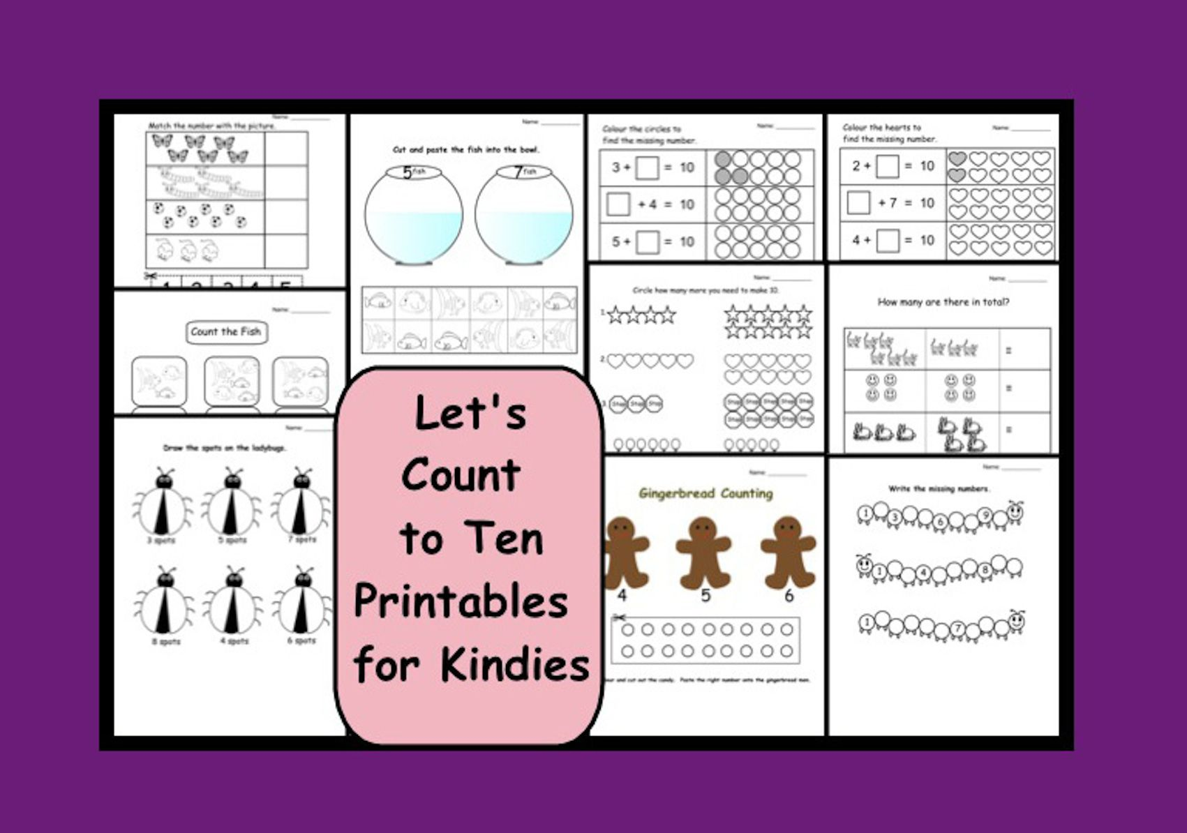 Let's Count to Ten Printable worksheets for kinders