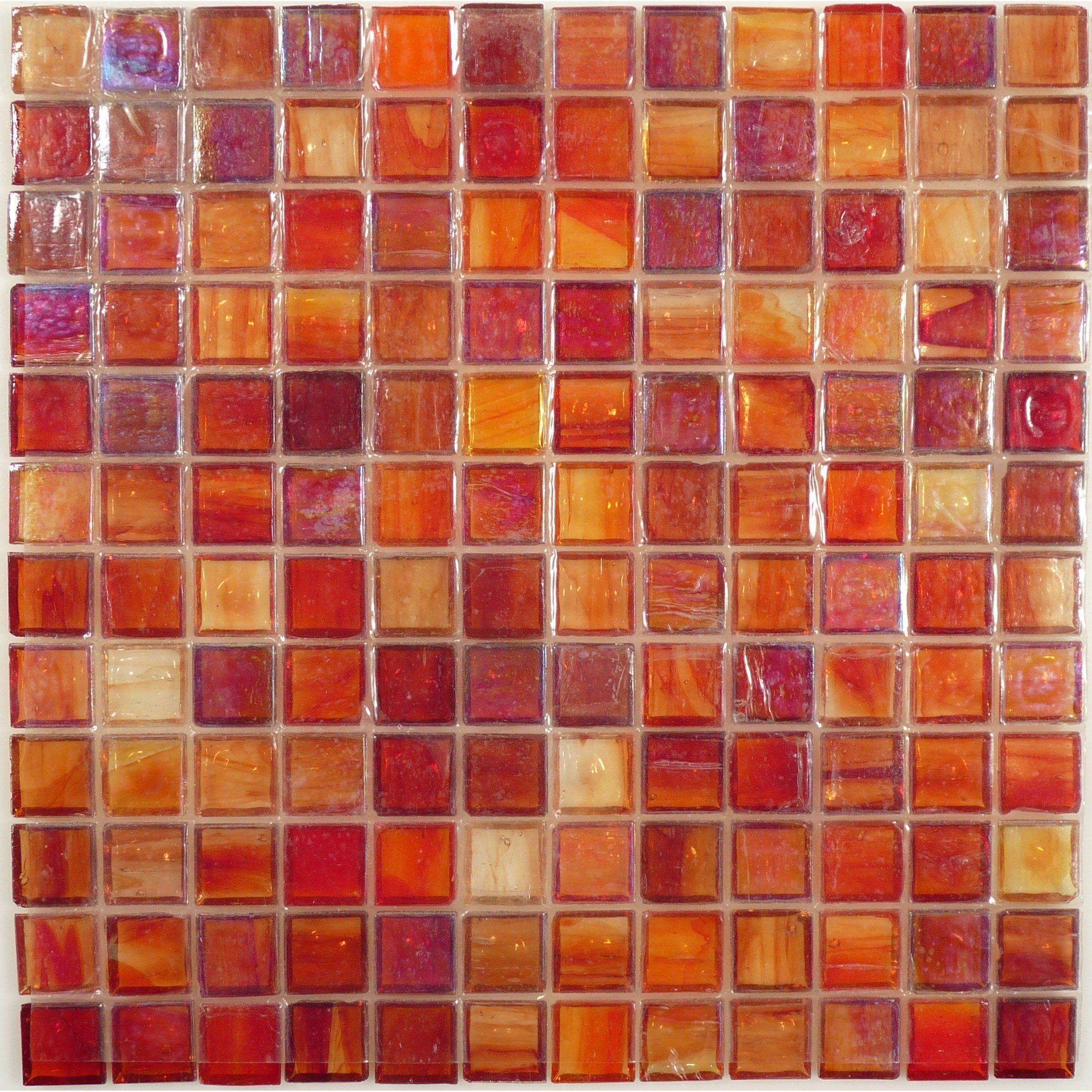 "1x1 Crystal Glass Tile Mosaic Kitchen Bath Wall Red Orange full size 12/""x12/"""