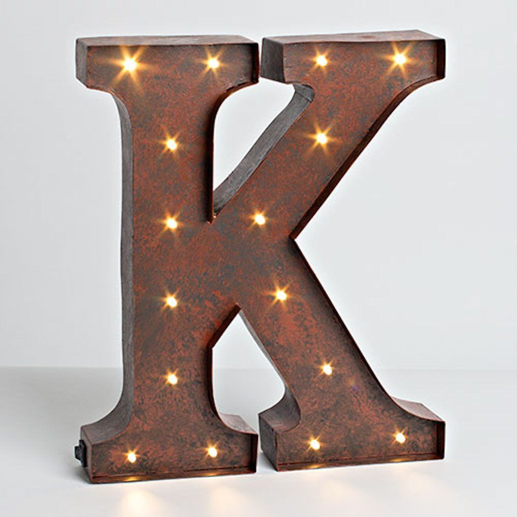 "Lighted Metal Initials Amazon The Gerson Company ""k"" Led Lighted Metal Letter With"