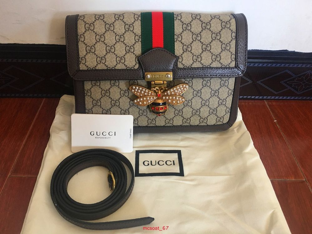 5e2c7981987eac GUCCI Queen Margaret GG mini coffee/Beige Bee buckle shoulder bag #fashion  #clothing #shoes #accessories #womensbagshandbags #ad (ebay link)