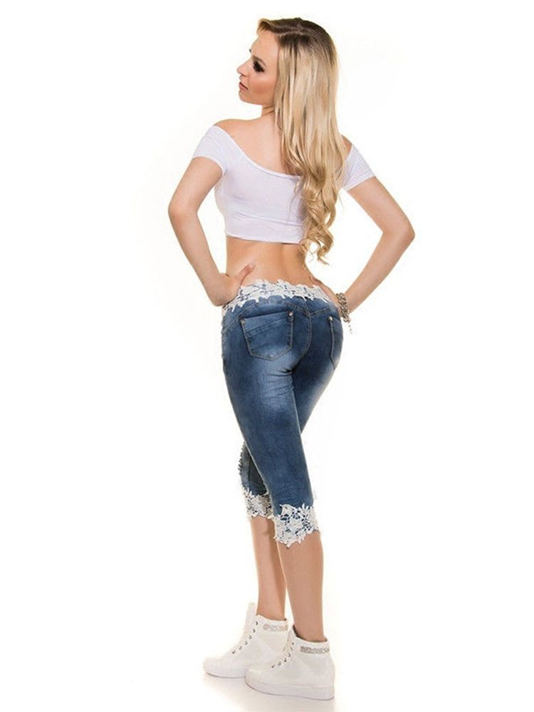 b70d9614cb Womens Ripped High Waist Lace Middle Length Jeans Shorts High ...