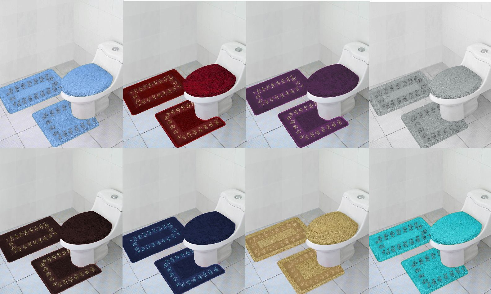 Bathmats Rugs And Toilet Covers 133696 3pc Bathroom Contour Mat Toilet Lid Cover Set Solid Bathmats Many Color And Styles B Contour Mat Toilet Covers Cover