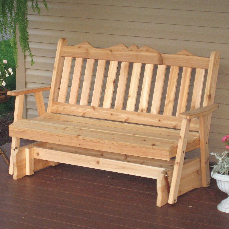 A U0026 L Furniture Western Red Cedar Royal English Outdoor Loveseat Glider    611C UNFINISHED