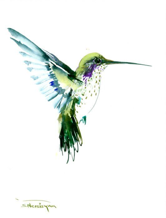 Flying Hummingbird olive green watercolor art, 12 X 9 in ...