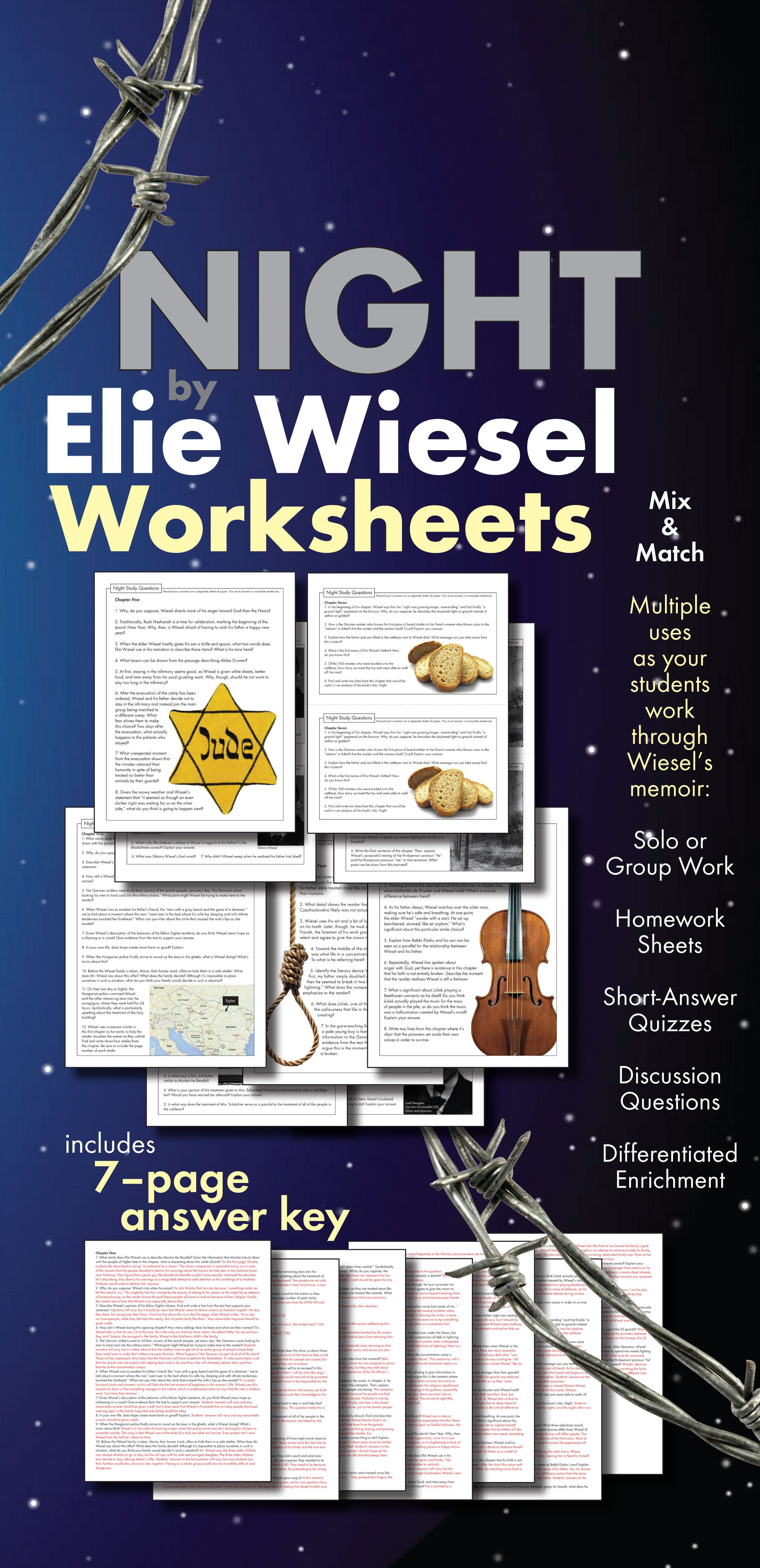 Night By Elie Wiesel Worksheets Hw Discussion Questions For Ww2 Memoir