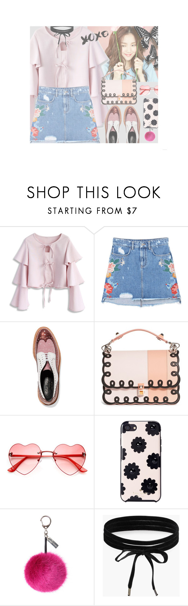 """""""428"""" by niji-niji ❤ liked on Polyvore featuring Chicwish, MANGO, Robert Clergerie, Fendi, Kate Spade, Helen Moore and Boohoo"""