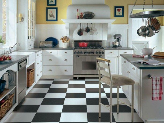 Yellow Black And White Kitchen Ideas Part - 17: Flooring-kitchen-vinyl-white-black-white-kitchen-cabinets-