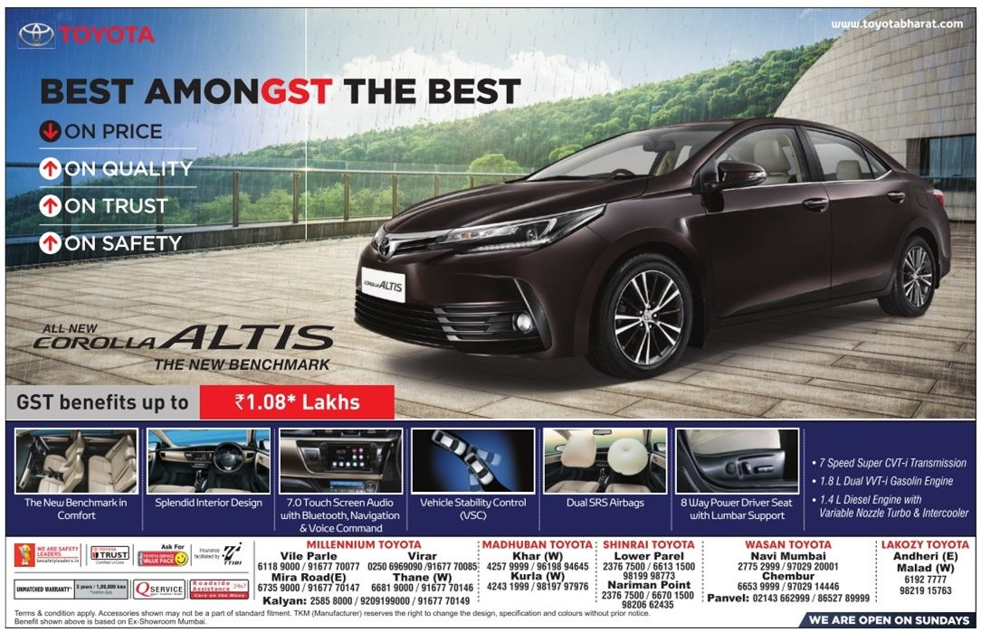 toyotacorollaaltiscaradbombaytimes. Check out more