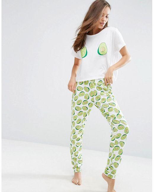 d8982078db47 Women s Green Avocado Print Tee   Jogger Pyjama Set