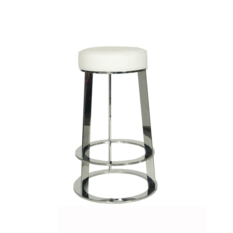 Worlds Away Samson Nickel Round Counter Stool in White