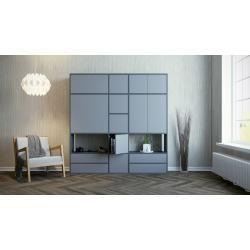 Photo of Schrankwand Anthrazit – Moderne Wohnwand: Schubladen in Grau & Türen in Grau – Hochwertige Materiali