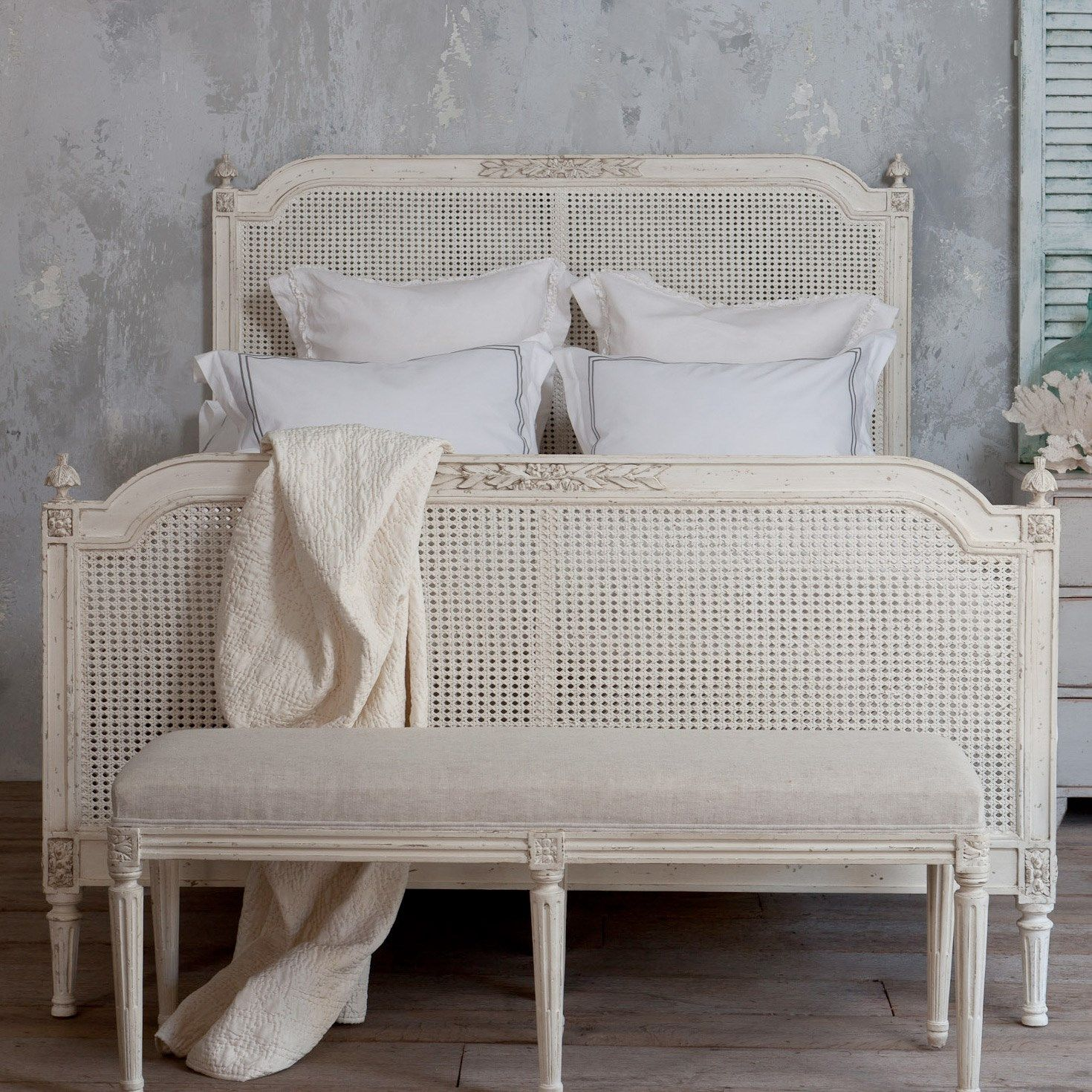 Eloquence Blanka Cane Antique White Bed Laylagrayce