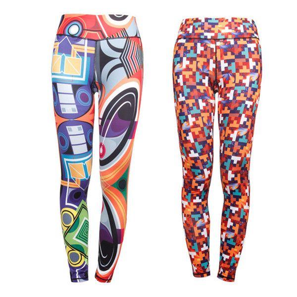 da3c578b76e Women Plus Size Slim Quick-dry Print Stretched Gym Running Ninth Yoga Pants  at Banggood