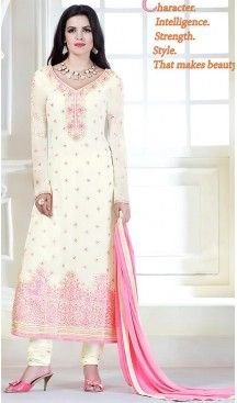 ad4b976624e Off White Color Georgette Thread Work Churidar Kameez