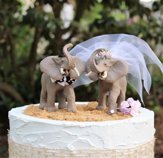 bride and groom custom cake topper wedding party gift cake topper unique wedding cake topper Elephant wedding