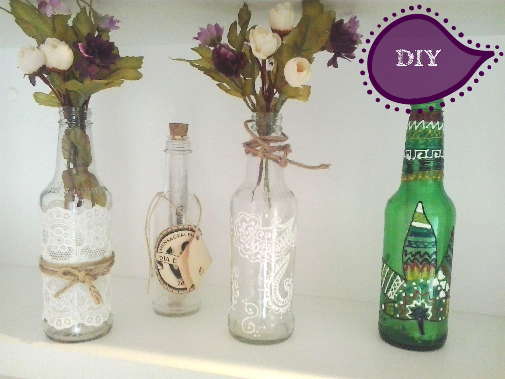 DIY Faa decorao com garrafas de vidro