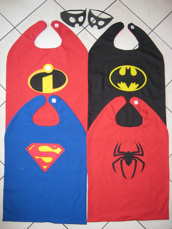 SET Spiderman Superman Batman Superhero Dress Up Cape REVERSIBLE ...