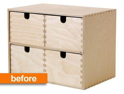 Before & after: from ikea basic to a vintage look card catalog